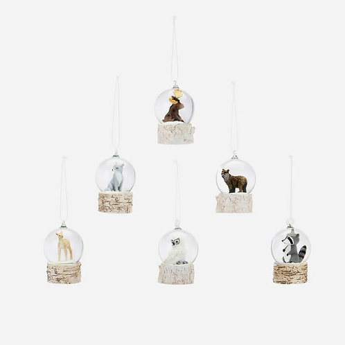 Mini Woodland Animal Snow Globe Ornament