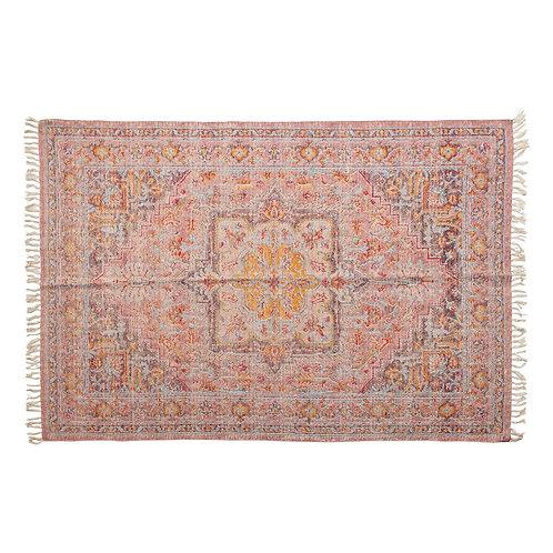 Woven Cotton Distressed Print Rug, Multi Color