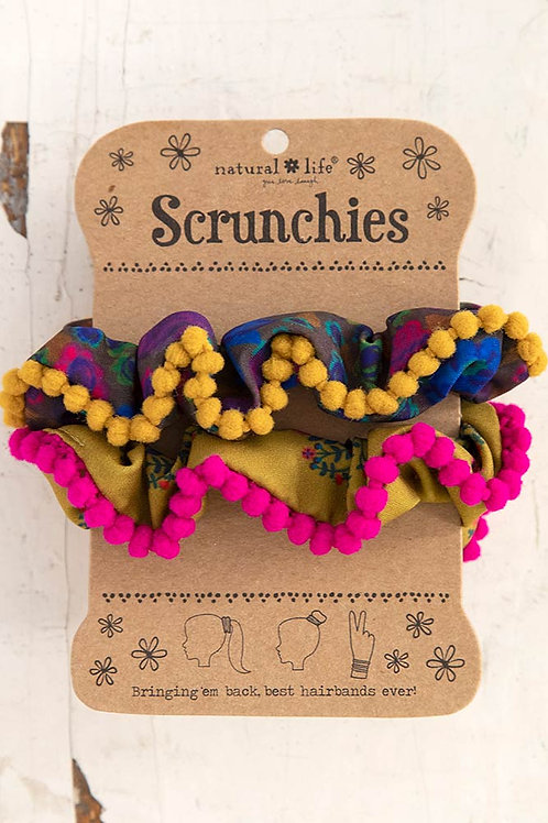 Pompom Scrunchie Set of 2