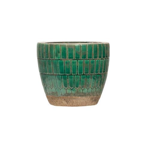 Terra-cotta Tiled Planter, Green