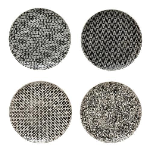 Hand-Stamped Stoneware Plate w/ Embossed Pattern, Black & Cream