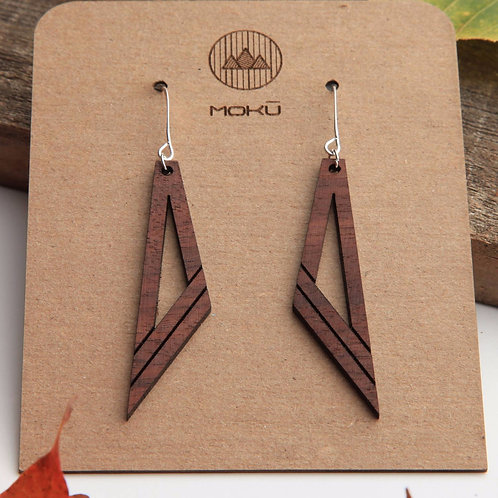 MOKU Diagonal Wood Earrings Hackberry and Walnut