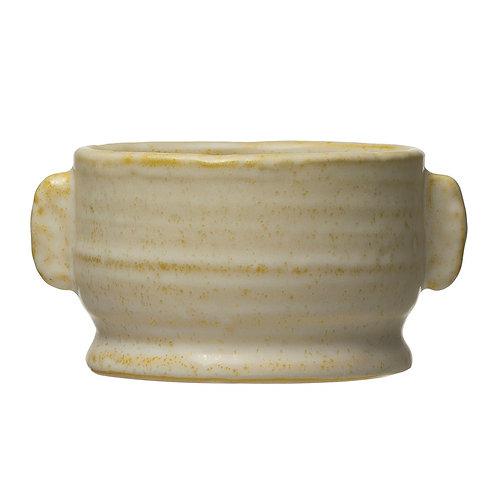 Stoneware Planter, Yellow Reactive Glaze