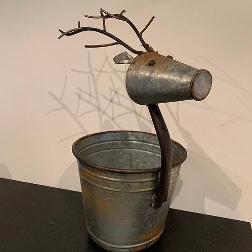 Galvanized Reindeer Bucket Planter