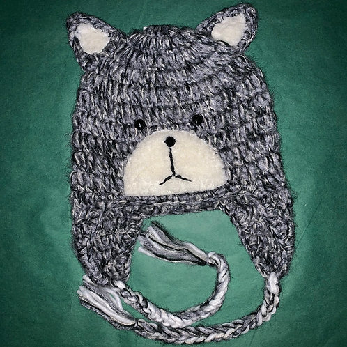 Knit Animal Hat Gray Bear