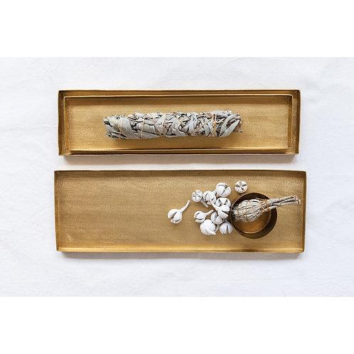 Decorative Textured Metal Trays, Matte Brass Finish, Set of 3
