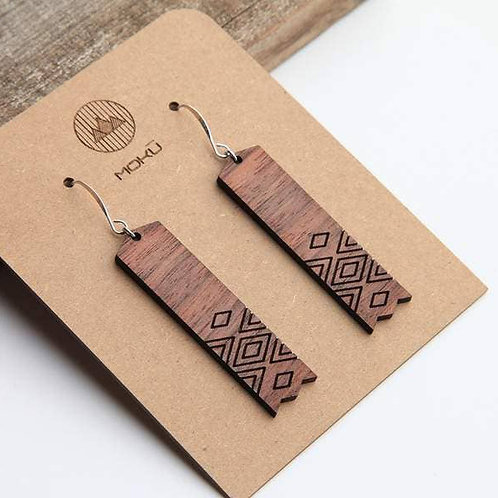MOKU Reflection Wood Earrings Walnut and Oak