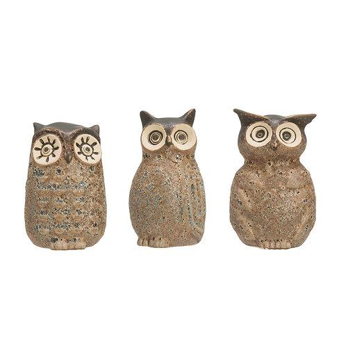 Stoneware Owl Vase, Reactive Glaze