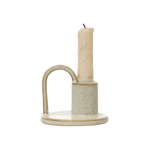Stoneware Taper Holder with Handle, Reactive Glaze