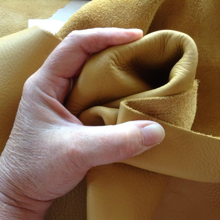 Super-Soft, pliable buckskin yellow leather option