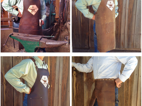 Four styles of blacksmith aprons you can customize for a comfortable leather shop apron you'll l
