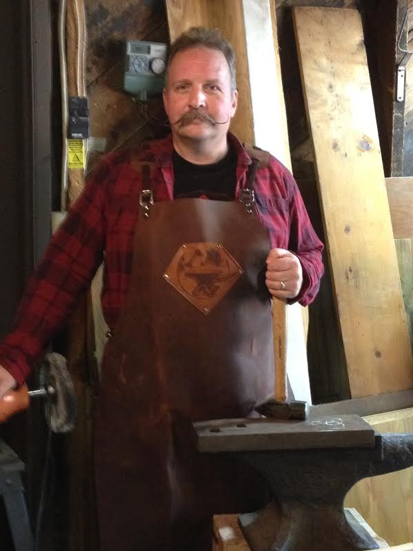 Richard Johnson, wearing the FORGE-APRON he won in the recent give-away.