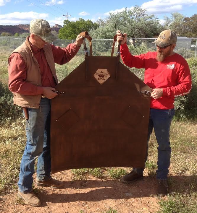 Texas size leather shop apron