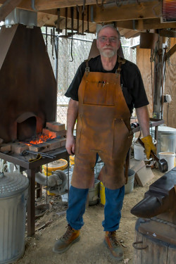 Mark Eichinger-Wiese forging with his Forge Apron on
