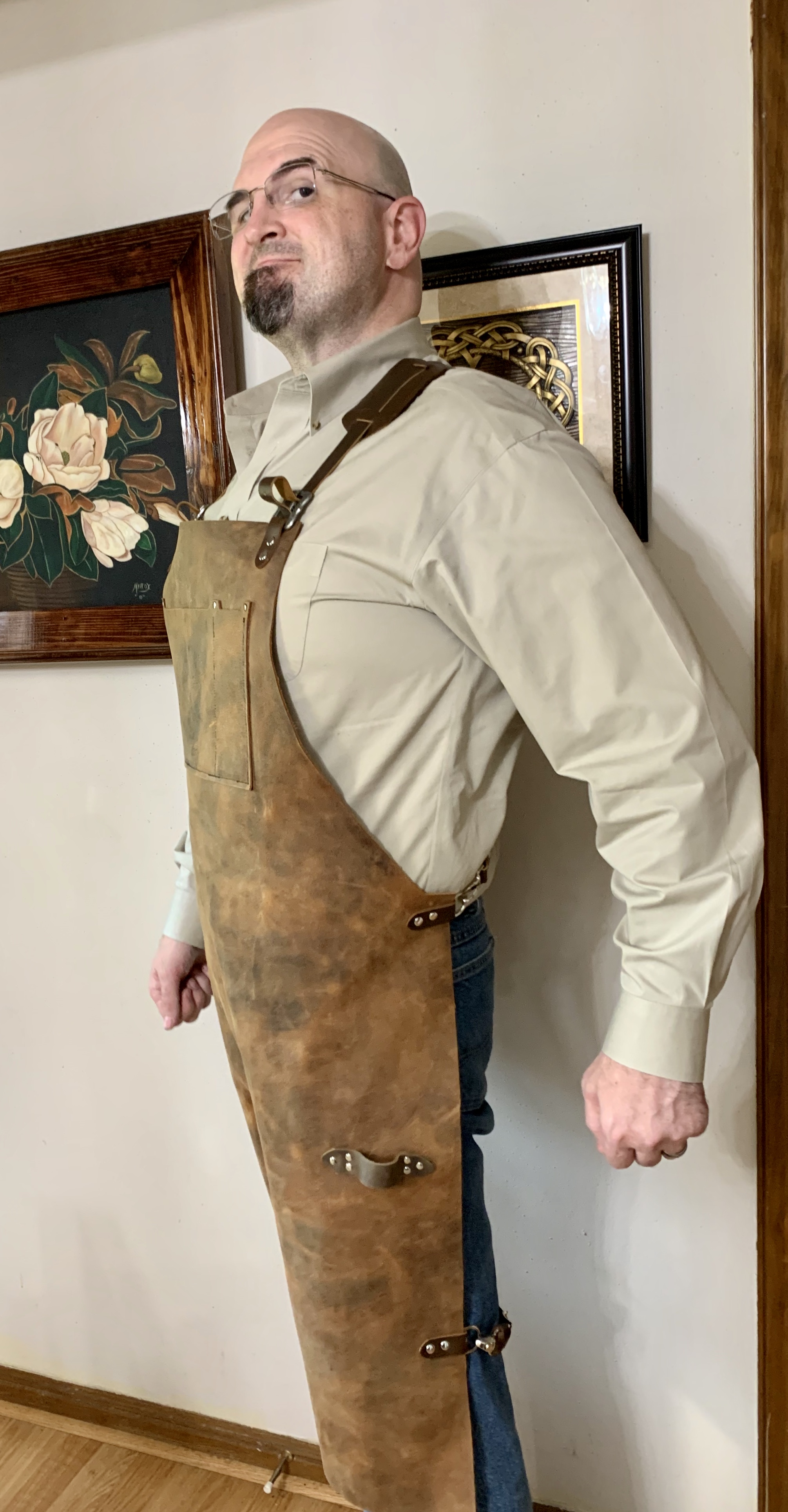 Joseph Patrick gives us a Popeye imitation in his Forge Apron