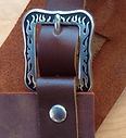 Forge-Aprons uses the Accented Flame Buckle by Jeremiah Watts