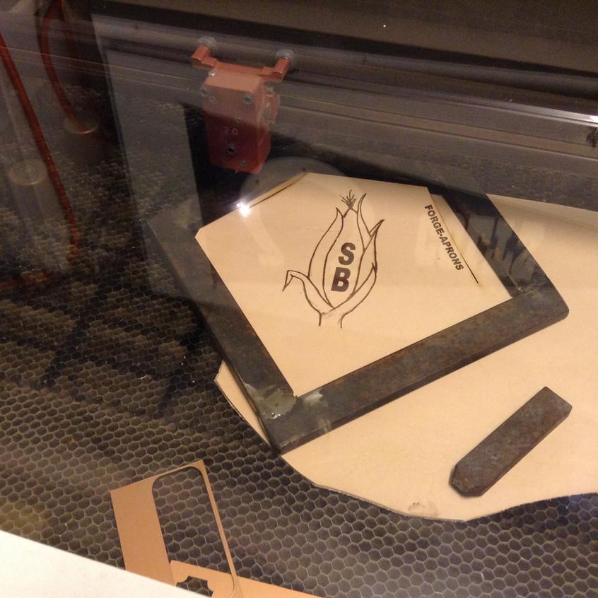 This corn on stalk mirrors the customer's blacksmith touchmark.