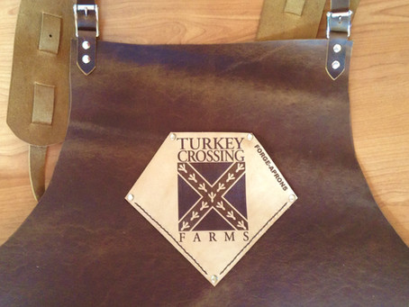 Custom logos are a big hit on blacksmith aprons.