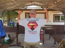 Blacksmith t shirt on Bill Morris