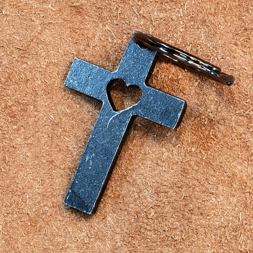 Key Fob- Cross with Heart