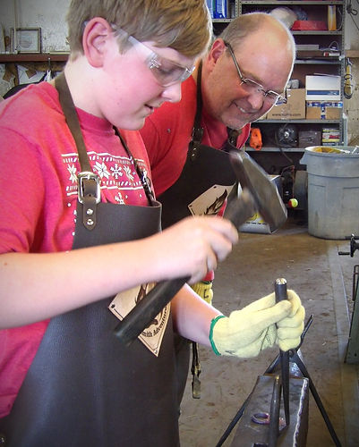 Father and son learn to forge at Blacksm