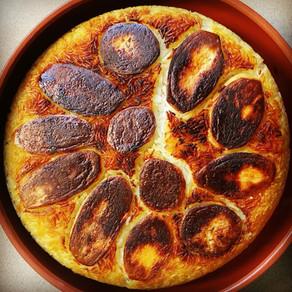 אורז פרסי עם תחתית תפוחי אדמה פריכים