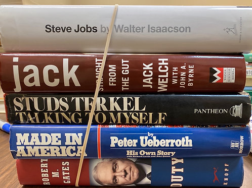 Autobiographies Steve Jobs, Jack welsh, Robert M Gates, Peter Ueberroth