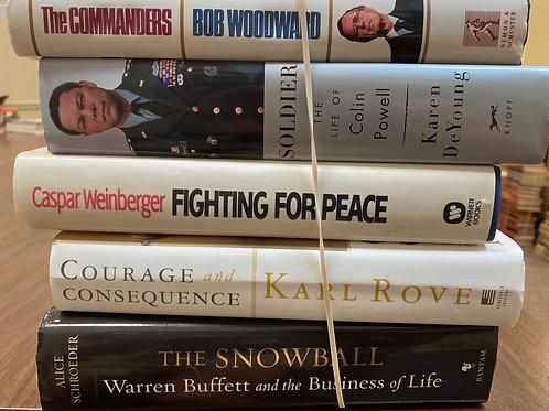 Autobiographies Warren Buffett, Karl Rove, Caspar Weinberger, Colin Powell, Bob