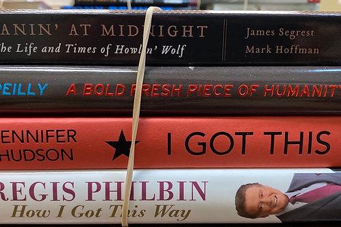 Autobiographies Regis Philbin, Jennifer Hudson, Bill O'Reilly, Howlin' Wolf