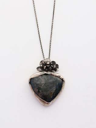 Moss Agate with Kalanchoe Necklace