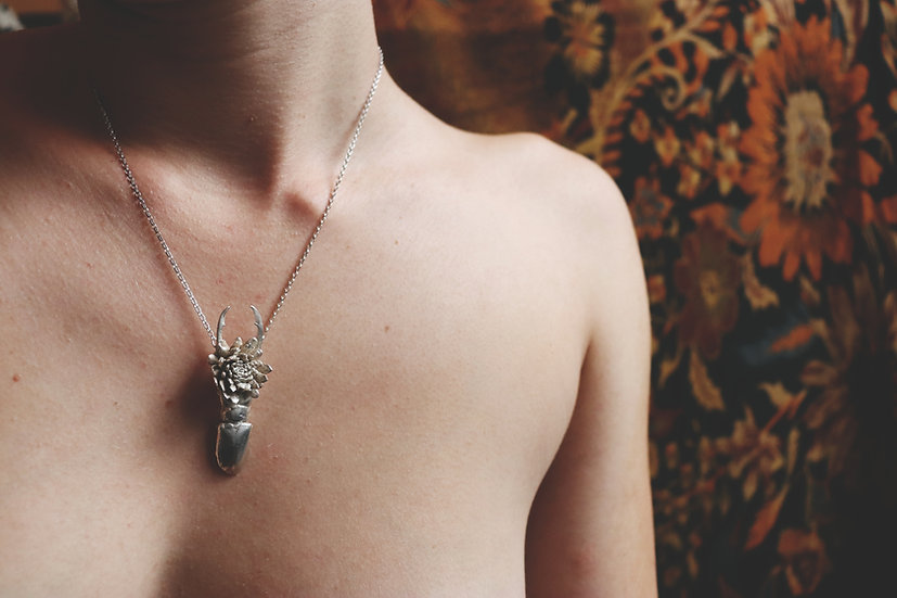 Echeveria Stag Beetle Necklace
