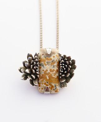 Ocean Jasper with Echeveria Necklace