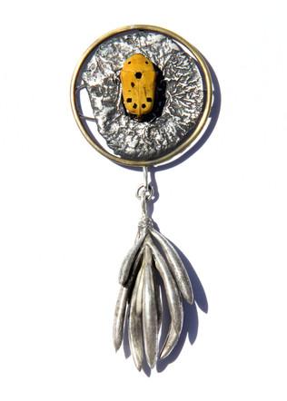 Flower Beetle and Sedum Brooch