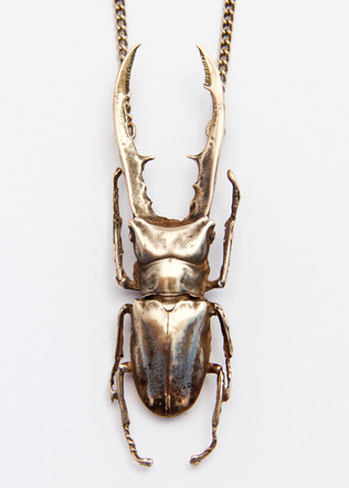 Golden Stag Beetle Necklace