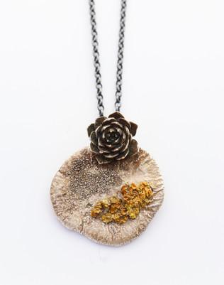 Lichen on Echeveria Necklace