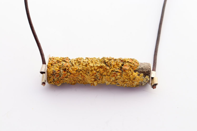 Lichen and Leather Necklace