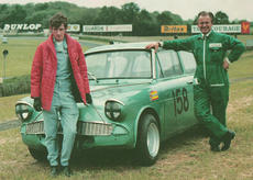 My dad Doug Kitson on the right, mechanic to Stan Matthews' Lotus engined Ford Anglia. Brands Hatch 1968.