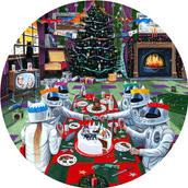 "Cats in Space 'My Kind of Christmas' 12"" vinyl picture disc painting."