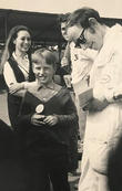 Brands Hatch 1969, 10-years old collecting racing driver autographs. Saloon racer Michael Harte signs, who kindly provided the photo.