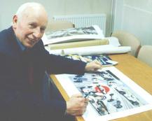 John Surtees signing 'The Honda Years' prints, Edenbridge 1997.