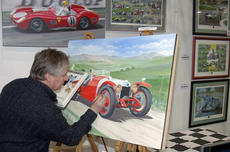 Painting at the Race Retro show.