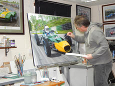 Working on 'Cadwell Merlyn', 40x30ins acrylic on stretched canvas.