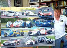 48x36in montage painted for Zak Brown in 2012. Various cars he has raced.