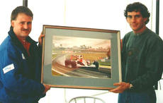 With Ayrton Senna and the painting 'Home Town Hero'. Silverstone 1991.