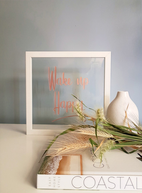 White Framed Etched Quote