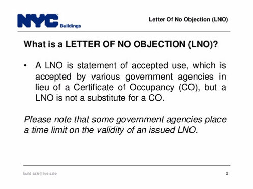 LNO (Letter of Objection)