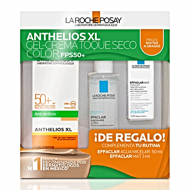 Set Anthelios XL Toque Seco con Color FPS50+ 50ml + Mini Agua Micelar + Mini MAT