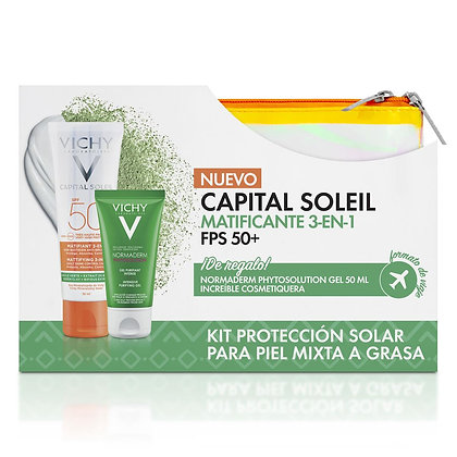 Set Capital Soleil Matificante 3 en 1 FPS-50 50ml + Cosmetiquera