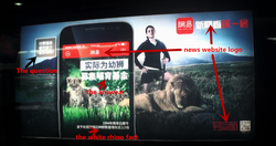 Underground poster of dead lion and hunt