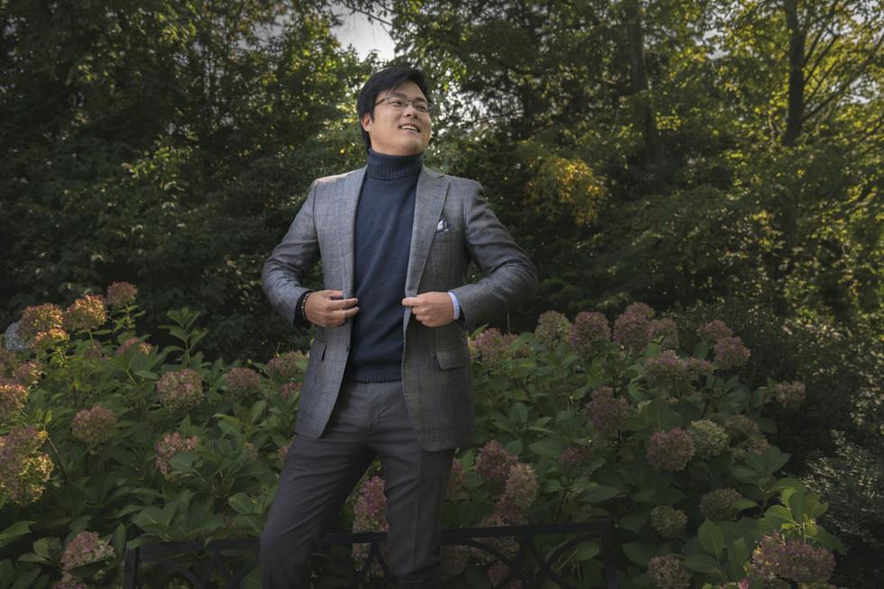 Jacket fabric by Loro Piana, trouser fabric by Filarte Sartoriale, knitwear from Fioroni